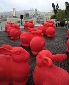 {Rabbits in Paris} via 2009, an art installation of rabbit sculptures invaded Paris.