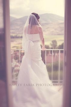 Bride - mountains - wedding pose