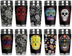 "Awesome Sugar Skull ""Mugzie Travel Mug! Skull Decor, Skull Art, Coffee Thermos, Coffee Mugs, Memento Mori, Skull And Crossbones, Skull And Bones, Crane, Girly"