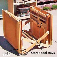 Convenience, cost, and saving space were on Dan McNair?s mind when he designed and built his collapsible, mobile workshop.