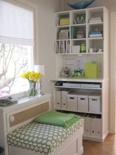 Office in white and green--great set up and organization for a small space.