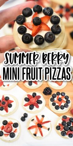 These red white & blue mini fruit pizzas are bursting with summer berry flavor! Sugar cookies topped with cream cheese icing & delicious berries! Perfect for the 4th, Memorial Day, or any picnic! Peanut Butter Cookies, Chocolate Chip Cookies, Sugar Cookies, Delicious Cookie Recipes, Yummy Cookies, No Bake Desserts, Easy Desserts, Family Recipes, Holiday Recipes