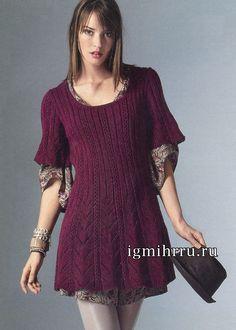 Burgundy flared mini dress with openwork pattern tracks. Knitting