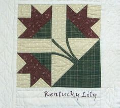 Block No. 11 - Letter K - Kentucky Lily - published by Edie Pigg & Cora Wright, Kentucky Pride Quilts in 1982