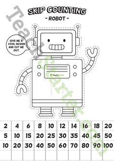 Teaching Resource: A fun robot template to help students skip count by 2s, 5s and 10s.
