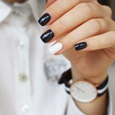 "N a i l s & fashion // essie ""bobbing for baubles"" & ""blanc"" Blue Nails, Glitter Nails, Gel Nails, Acrylic Nails, Nail Polish, French Nail Designs, Pretty Nail Designs, Teen Hair Colors, Plain Nails"