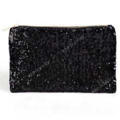 Frauen-Pailletten-Glitzer-Spangle-Clutch-Bag-Abendtaschen-Tasche-Brieftasche-Neu