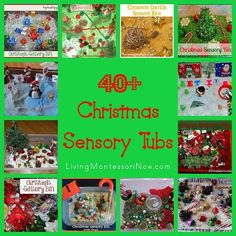 40+ wonderful and varied ideas from around the blogosphere for Christmas sensory tubs/ sensory bins