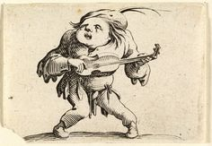 Jacques Callot, designer French, 1592-1635 Le Bancal Jouant de la Guitare (Lopsided man playing the Guitar), Varie Figurae Gobbi, 1622 Etching Plate: 6 x 8.6 cm (2 3/8 x 3 3/8 inches) Gift of an anonymous friend 47.77