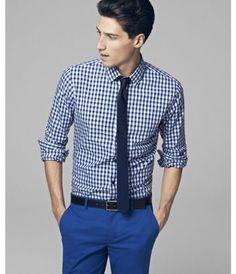 Plaid Fitted Cotton Shirt - Express Men