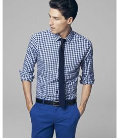 Plaid Fitted Cotton Shirt - Express Men
