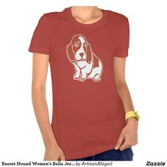 Basset Hound Women's Bella Jersey T-Shirt, Red; ArtisanAbigail at Zazzle