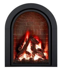 The arched design takes center stage set against the streamlined styling of the Ashton metal front. Fireplace Fronts, Fireplace Inserts, Gas Fireplace, Stage Set, Center Stage, Hearth, Doors, Metal