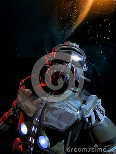 Cosmonaut into space with a suit looking like  those of the roman legionaries.