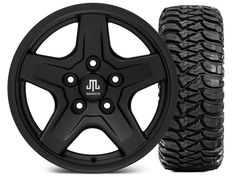 Mammoth Boulder Black Wheel - 16x8 Wheel - and Mickey Thompson Baja MTZ 315/75-16 (07-17 Wrangler JK)
