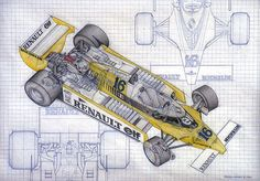 A color version of the Renault Elf Formular 1 race car