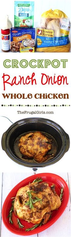 Crockpot Ranch Onion Whole Chicken Recipe! ~ from TheFrugalGirls.com ~ just a few ingredients plus an easy Slow Cooker recipe and you've got the most DELICIOUS savory chicken!! Perfect for dinner or holidays!! #slowcooker #recipes #thefrugalgirls