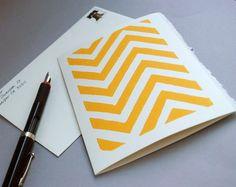 Yellow Chevron Linocut Notecard Block Print  Card 5 x 7 inches. $3.50, via Etsy.