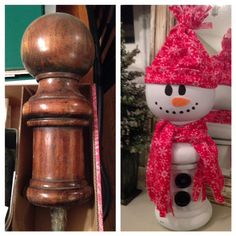 From discarded bed post to a cute snowman!