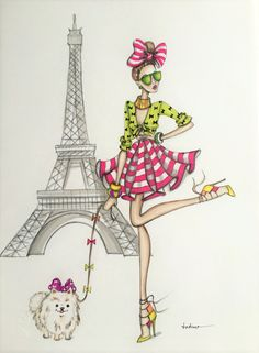 Megan Hess Illustration, Paris Illustration, Illustrations, Ilustración Megan Hess, Eiffel Tower Pictures, Paris Drawing, Wedding Drawing, Cartoon Pics, Cute Cartoon