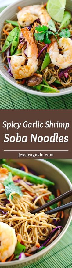 Soba Noodles with Spicy Garlic Shrimp - a colorful healthy recipe packed with seafood and vegetables. Asian flavors are infused into each noodle bite. | jessicagavin.com