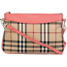 Burberry Horseferry check clutch featuring polyvore, fashion, bags, handbags, clutches, burberry pochette, burberry, pink purse, coral handbag and coral purse