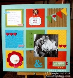 Hello Lovely Color-Blocking Scrapbooking Layout stampin up