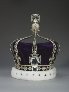 Queen Mary's Crown. 1911. Silver, gold, diamonds, quartz crystal, velvet and ermine. Acquirer: Queen Mary, consort of King George V, King of the United Kingdom (1867-1953). Provenance: Commissioned by Queen Mary, consort of King George V, from the Crown Jewellers, Garrard & Co., for the coronation on 22 June 1911.