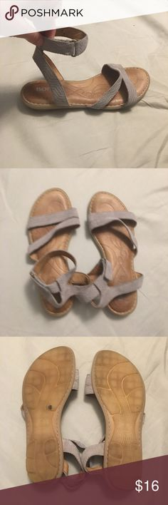 BORN sandals w ankle strap Perfect for everyday wear. Worn a few times before I had surgery on my ankle and can't wear anymore because I need extra support. Second color in closet!! Born Shoes Sandals