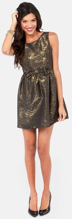 Metallic Black & Gold Dress