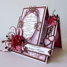 kartkulec: UPATRZONA Beautiful Handmade Cards, Unique Cards, Creative Cards, Homemade Birthday Cards, Homemade Cards, Fun Fold Cards, Folded Cards, Wedding Anniversary Cards, Wedding Cards