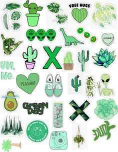 Stickers by MadEDesigns. One-off die-cut Stickers. Tumblr Stickers, Phone Stickers, Cute Stickers, Cactus Stickers, Printable Stickers, Planner Stickers, Tumblr Png, Homemade Stickers, Mac Book