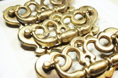 3 Antique Drawer Pulls Keyhole Brass Hardware   by KeyWayHardware, $24.00