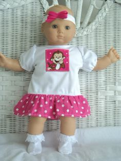 Doll Clothes Bitty Baby Girl  My silly Monkey 3 pc by btcrafts, $15.00