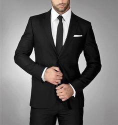 skinny black tie, black suit, white shirt