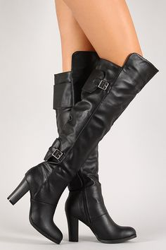 Wide Buckled Straps Almond Toe Thigh High Boot