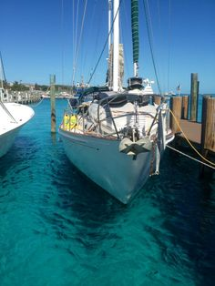 Safely tied up at Brown's Marina, Bimini, Bahamas after a long haul crossing the gulf stream www.wherethecoconutsgrow.com
