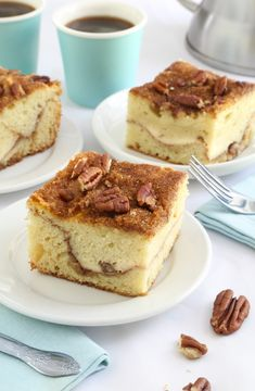 This recipe meets all my criteria for great coffee cake. It's scratch-made with streusel topping nutty and fragrant with cinnamon. It's not overly sweet and it has a ribbon of sweet cream cheese running through its center. Sweet Recipes, Cake Recipes, Dessert Recipes, Gourmet Recipes, Cupcakes, Cupcake Cakes, Best Coffee Cake Recipe, Cream Cheese Coffee Cake, Coffe Cake