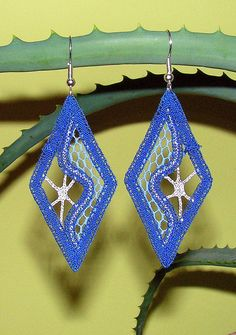 handmade bobbin lace earrings OCEAN blue and silver by NiTyaLace, €40.00