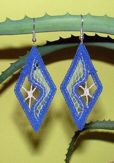 les boucles d'oreilles fait main dentelle aux fuseaux « Océan », bleu et argent