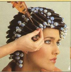 HOME PERMS!! 80's girls, we loved 'em!! I can still remember the smell :) ... my goodness, even with my long hair, I was silly enough to let my Mom give me home perms -- what a mess! But, bigger was better in the 80s. lol .. J
