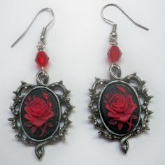 Red and Black Rose Cameo Earrings [1011ER] - $9.99 : Mystic Crypt, the most unique, hard to find items at ghoulishly great prices!
