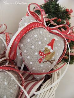 Heart Ornaments 3 of 3 Xmas Cross Stitch, Cross Stitch Heart, Cross Stitching, Cross Stitch Embroidery, Embroidery Patterns, Christmas Sewing, Christmas Embroidery, Christmas Cross, Cross Stitch Designs