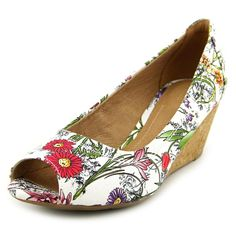 """Clarks Burmese Art Women US 6.5 Multi Color Peep Toe Wedge Heel. Heel Height: 3"""". Front Height: 1/4"""". Fit: True to Size. Upper: Leather. Features of this item include: Wedge."""