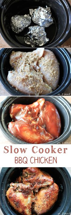 Slow Cooker BBQ Chicken 3 large bone-in, skin on chicken breasts about 6 pounds 2 tablespoons of all-pupose steak seasoning 3 tablespoon of brown sugar 1 cup of BBQ sauce