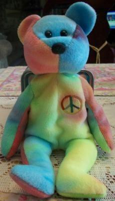 Ty Beanie Baby tie dye peace bear, 1996 Ty Bears, Baby Tie, Feelin Groovy, Rainbow Colors, Peace And Love, Smurfs, Beanie Babies, Dinosaur Stuffed Animal, Tie Dye