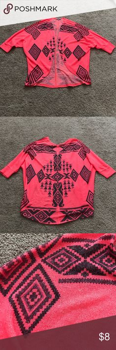 Charlotte Russe Hot Pink Cardigan Charlotte Russe Hot Pink and Black Cardigan. 3/4 sleeves, open in the front, Aztec Pattern. One small pick on the front bottom left. Smoke Free Home Charlotte Russe Tops
