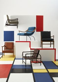 Smart mid-century and classic chairs. House & Gardeb Feb 2013. Styled by Florence Rolfe. Photographs by Rachel Whiting