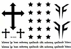2012 Newest Halloween Christmas Cross Star Black Temporary Tattoos by Temporary Tattoos. $1.60. size:15cm x 10cm. Weight:8 Ounces. How to use it 1.Cut out tattoo of choice and remove clear sheet 2.Place tattoo face down on skin 3.Wet the tatto thoroughly with asponge 4.After 20-30 seconds, gently remove the backing paper 5.Allow the tatto to dry  How to Remove Body Sticker Use cold cream, baby oil or the sticky side of adhesive tape.  WARNING: CHOKING HAZARD-Small parts. Nor ...
