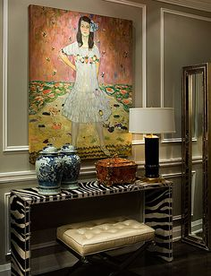 This Gustav Klimt painting (or copy of) makes this space sparkle.  1212 Decor, Toronto by J. Alexander Donovan. via aloloco